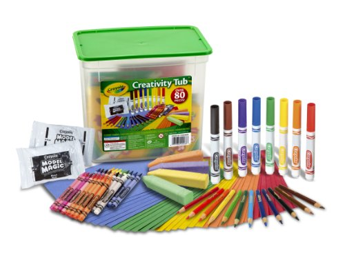 Crayola Creativity Tub, Over 80 Art Tools, Crayons, Markers, Colored Pencils Construction Paper and