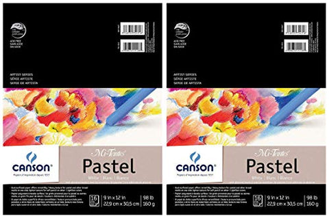 2-Pack - Canson Mi-Teintes Pastel Paper Pad, White with Glassine, Dual Sided Light and Heavy