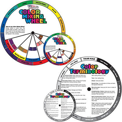 "U.S. Art Supply 4"" and 8"" Color Mixing Wheel Set - 2 Double Sided Color Mixing Guides - Learn How"