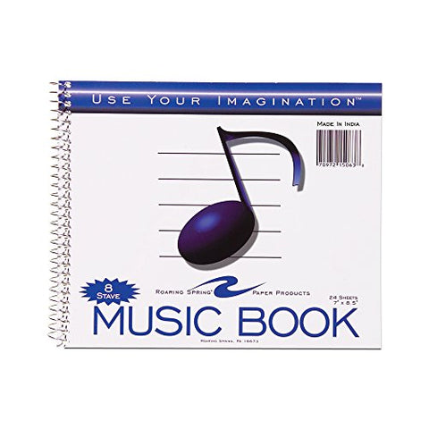 "Roaring Spring Blank Sheet Music 8 Stave Staff Paper Spiral Notebook , 7"" x 8.5"" 24 Sheets"