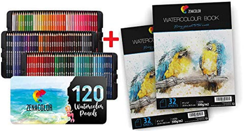 "Set of 120 Watercolor Pencils & 64 Pages Watercolor Paper Pad, 9"" x 12"" - Numbered, with a Brush and Metal Case - 2 x 32 White Sheets 140lb 300g - 120 Professional, Soluble, Different Color Pencils"