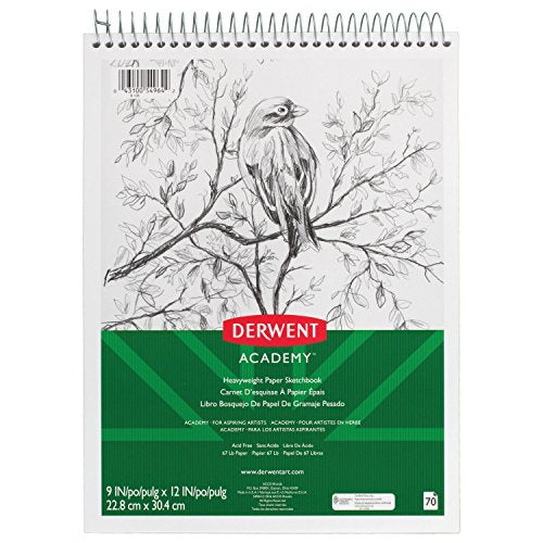 "Derwent Academy Sketchbook, Heavyweight Paper, Topbound Sketch Book, 70 Sheets, 9"" x 12"" (54964)"