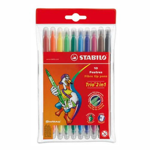 Stabilo Trio 2-in-1 Double-ended Coloring Felt-tip Pen, 0.5mm broad + 0.2mm fine tips - 10-Color