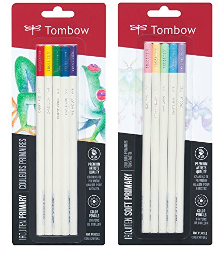 Tombow Irojiten Colored Pencils, Primary & Soft Primary, 10-Pack