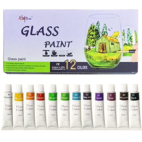 Hapree 12 Colors Stained Glass Paint, Non-Toxic Glass Window Color Paint Set for Wine Bottle,
