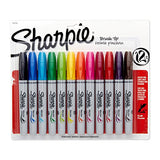 Sharpie 1810704  Permanent Markers, Brush Tip, Assorted, 12 Pack