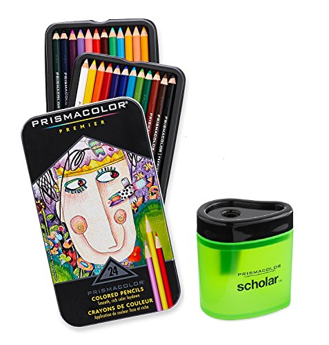 Prismacolor Premier Soft Core Colored Pencil, Set of 24 Assorted Colors (3597T) + Prismacolor
