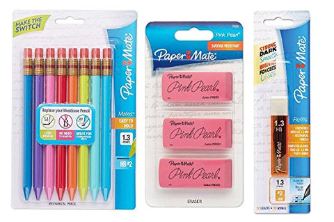 Paper Mate Mates 1.3mm Mechanical Pencils, Assorted Colored Barrels, 8-Count with Lead and