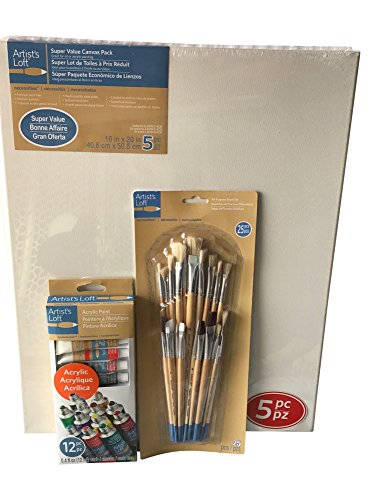 Artist's Loft 16x20 Canvas Bundle- 5 Pack Canvases with All Purpose Brushes and Acrylic Paints