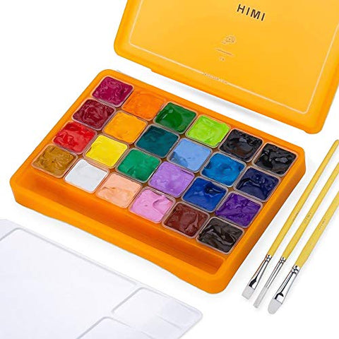 HIMI Jelly Gouache Paint Set, 24 Colors x 30ml/1oz Jelly Cup Design with 3 Paint Brushes and Palette in a Carrying Case for Artists, Students Gouache Opaque Watercolor Painting (Yellow)