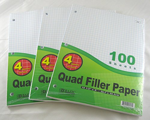 "3 X 3 Pk, Bazic 4-1"" Quad Ruled Filler Paper 100 Ct. Per Set"