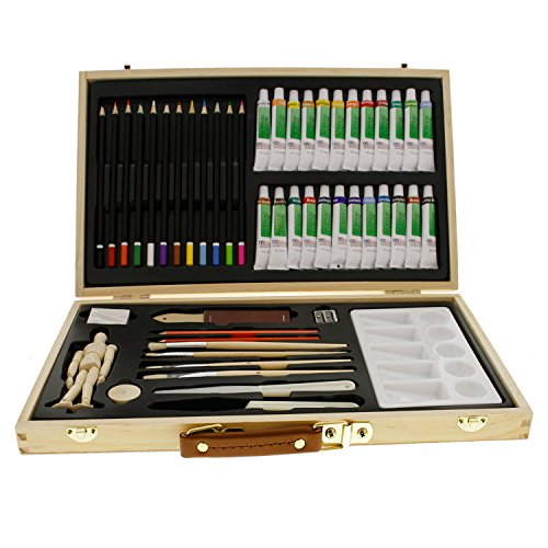 US Art Supply 50-Piece Acrylic Painting Set with, Wood Storage Case, 24-Tubes Acrylic Colors, 12