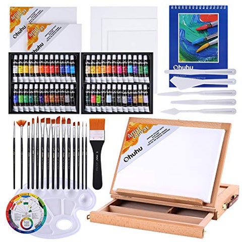 Acrylic Painting Set, Ohuhu 78pcs Artist Set with 48 Non Toxic Acrylic Paint Tubes, Wood Table-Top Easel Box, Art Painting Brushes and Acrylic Painting Pads for Artists Students Kids Valentine's Day