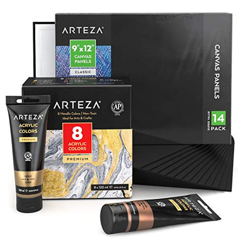 Arteza Black Painting Bundle: Black Canvas Boards and Metallic Acrylic Paint