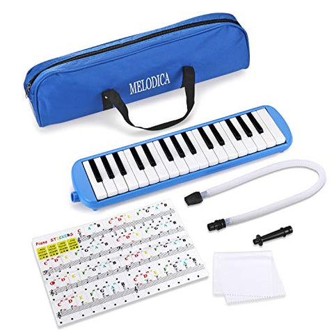 Melodica 32 Key Piano Musical Instrument for Music Lovers Beginners Gift with Carrying Bag Piano Sticker and Cleaning Cloth (Blue)