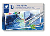 Staedtler Karat Aquarell Premium Watercolor Pencils, Set of 12 Colors (125M12)