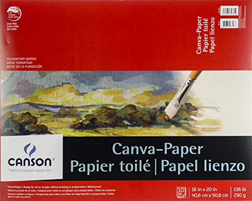 Canson Foundation Series Canva-Paper Pad Primed for Oil or Acrylic Paints, Top Bound, 136 Pound, 16 x 20 Inch, 10 Sheets