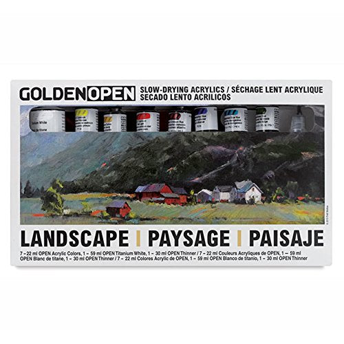 Golden Open Acrylic Landscape, Set Of 8