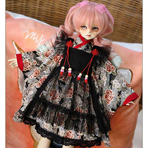 HMANE BJD Doll Clothes, 4Pcs Housemaid Kimono Clothes Set for 1/4 BJD Dolls (No Doll)