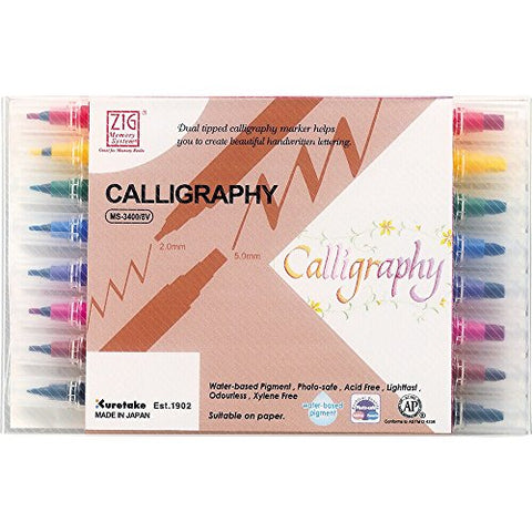 Kuretake Zig MS34008V Memory System Calligraphy Markers, Multicolor, 8-Pack