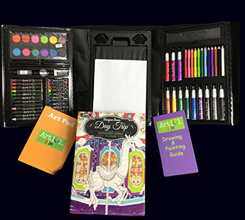 Tri-fold Artist Coloring and Painting Set 98 pices with Coloring Book