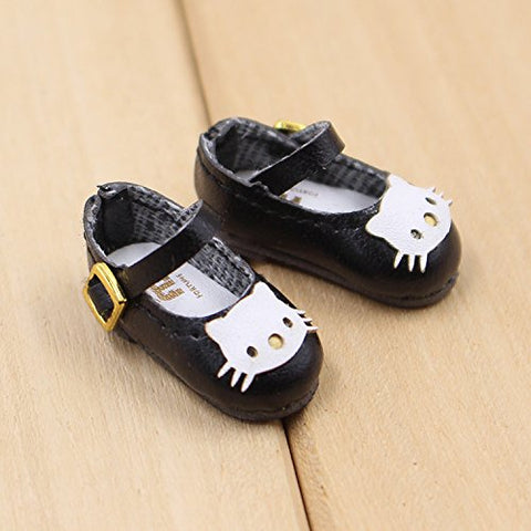 Fortune days toys for 1/6 doll shoes, Kitty cat and butterfly style handmade shoes four different color, suitable blythe icy licca Azone body and more! (black cat)