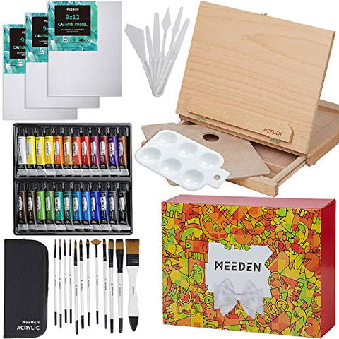 "MEEDEN 46 Pcs Easel Painting Set - 24 Colors Acrylic Paints Set, 3pcs 9"" x 12"" Canvas Panels, 12 Artist Brushes Set, Wood Palette, Pefect for Childern, Teens, Beginners and Professinol Artistis"