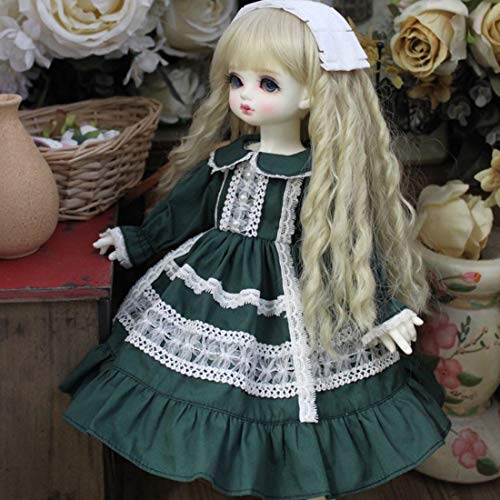 HMANE BJD Dolls Clothes for 1/4 BJD Dolls, Retro Style Dark Green Doll Collar Dress for 1/4 BJD Dolls (No Doll)