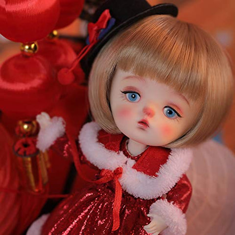 MEESock 1/8 Cute Mini BJD Doll 17.7CM 6.96inch Ball Jointed SD Dolls Cosplay Doll, with Fine Clothes Shoes Wig Makeup, New Year Gift for Child Girl