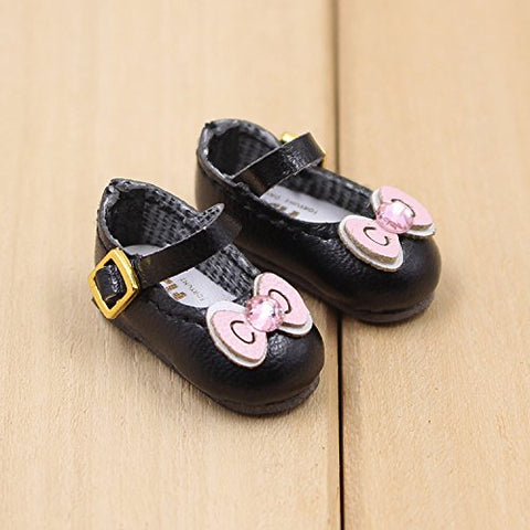 Fortune days toys for 1/6 Doll Shoes, Kitty cat and Butterfly Style Handmade Shoes Four, Suitable Blythe ICY licca Azone Body and More! (Black Bowknot)