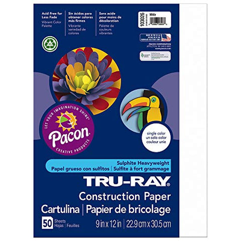 "Tru-Ray Heavyweight Construction Paper, White,  9"" x 12"", 50 Sheets"
