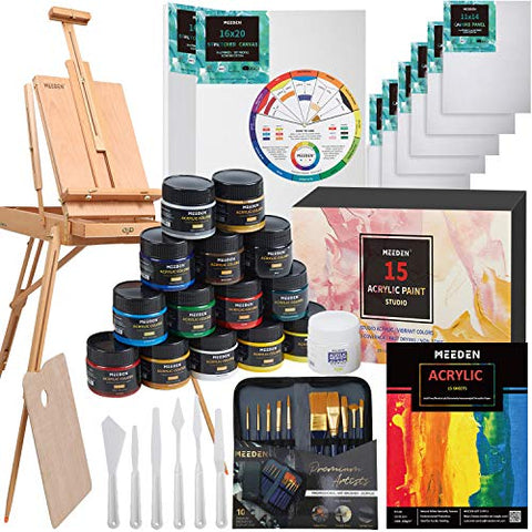 MEEDEN Great Deluxe Value Acrylic Painting Kit with French Style Easel, 15×100ML(3.38 oz) Acrylic Paints, 10xAcrylic Paintbrushes, 2xStretched Canvas, 6xCanvas Panels, Nice Gift for Artists, Beginners