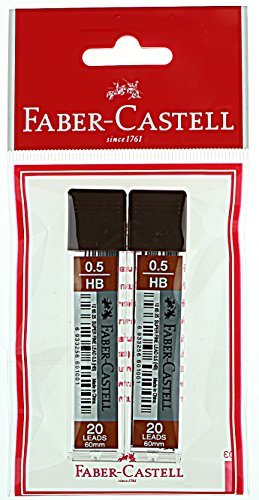 Faber-Castell Lead Refills HB Black 20 Leads 60mm, variation in 0.5mm to 0.7mm (HB 0.5mm)