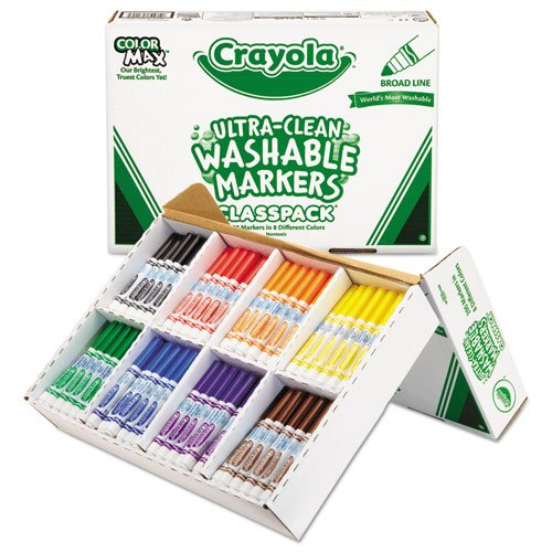 Crayola - Washable Classpack Markers, Broad Point, Assorted, 200/Box 58-8200 (DMi BX