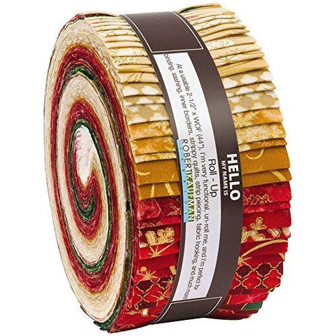 "Winter's Grandeur~Holiday-40, 2.5"" x 44"" Cotton Strips Jelly Roll by Robert Kaufman"