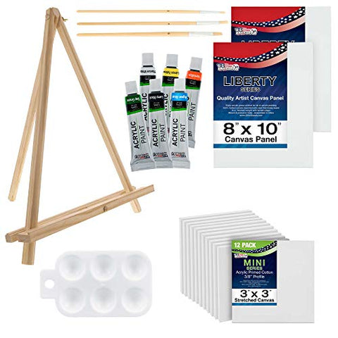 "U.S. Art Supply 13-Piece Acrylic Artist Painting Set with Mini Table Easel, Canvas Panel, Brushes & Palette Bundled with 3"" x 3"" Mini Professional Primed Stretched Canvas (1-Pack of 12-Mini Canvases)"