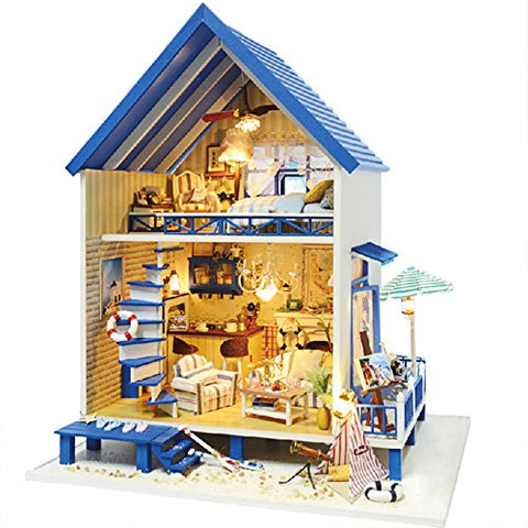 Rylai 3D Puzzles Miniature Dollhouse DIY Kit Light Romantic Aegean Sea Series Dolls Houses Accessories with Furniture LED Music Box