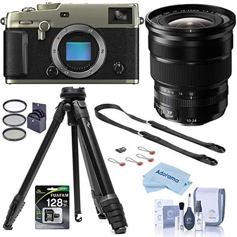 Fujifilm X-Pro3 Mirrorless Camera, Dura Siver, with XF 10-24mm F4.0 OIS Lens, Black - Bundle with Peak Aluminum Travel Tripod, Peak Leash Camera Strap, 128GB SDXC Card, 72mm Filter Kit, Cleaning Kit,