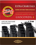 Koh-I-Noor Gioconda 8694 Artificial Extra Charcoals Pack of 4 Extra Soft