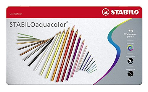 Stabilo Aquacolor Metal Box of 36 Assorted Colours