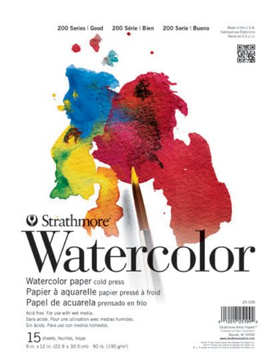 Strathmore STR-025-111 15 Sheet Cold Press Watercolor Pad, 11 by 15""
