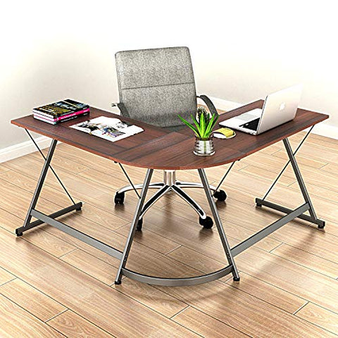 SHW L-Shaped Home Office Corner Desk Wood Top, Dark Walnut