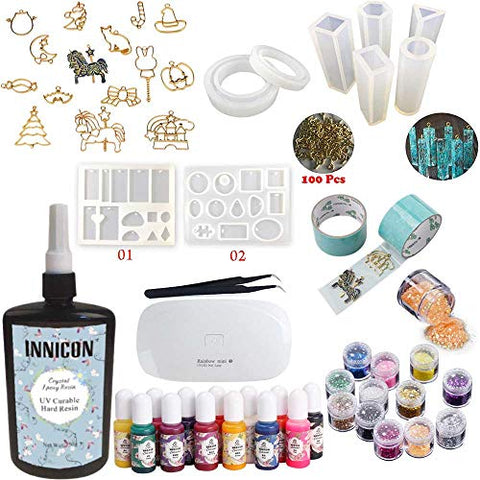 INNICON 250g Crystal Clear Epoxy Resin Decoration Kit 9 Silicone Molds 12 Accessories Glitters 13 pigment Mini UV/LED Lamp Tweezers For DIY Jewelry Starter Kit for Resin Crafts Pendants Charms Making