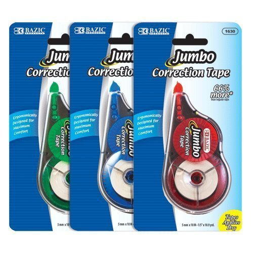 "BAZIC 5 mm x 394"" Jumbo Correction Tape, Box Pack of 12"