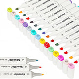 Soucolor Sketch Art Markers 100 Colors Artist Manga Dual Tip Markers Pens Highlighters with