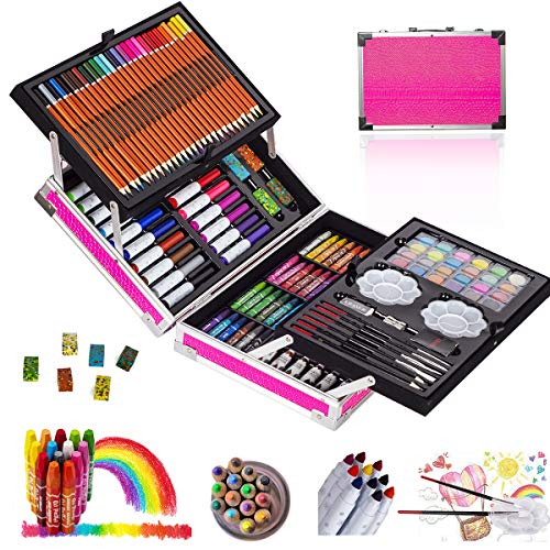 KINSPORY 137 PCS Portable Inspiration & Creativity Coloring Art Set Deluxe Painting & Drawing Supplies with Aluminum Alloy Box (Pink)