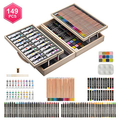 Art QIDOO 149 Pieces Deluxe Art Set/Kit - Art Supplies, Painting and Drawing Set in Wooden Case with Crayons, Oil Pastels, Colored Pencils, Acrylic Paints, Sharpener, Watercolor Cakes and Brushes