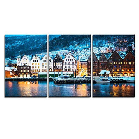 "wall26 - 3 Piece Canvas Wall Art - Night View in Bruges, Bergen, Norway - Modern Home Decor Stretched and Framed Ready to Hang - 16""x24""x3 Panels"