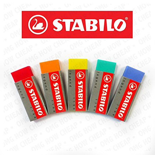 "STABILO LEGEND COLOURED ERASERS PLASTIC RUBBER ERASERS ""5 Pack"" [1 of each Colour]"