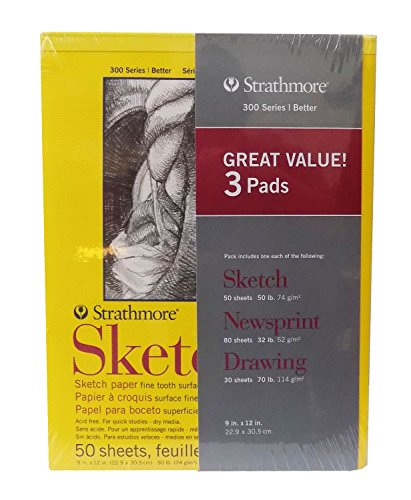 Strathmore 3 Pad Art Set - Sketch, Newsprint, & Drawing Pads
